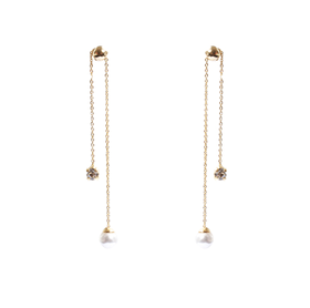 GET ME BLING pearl cz long drop earring